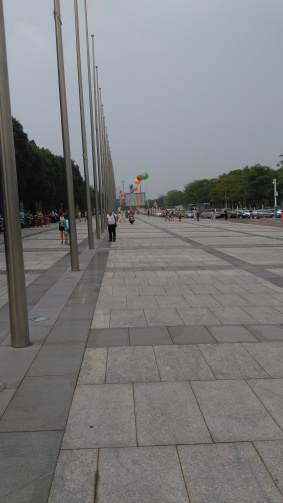 Giant balloons outside Zhongshan Expo Centre on Oct 1.