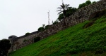 Looking up at Guia Fortress.