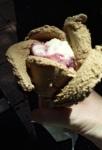 Cafe et amarena gelato, in a flower shape.