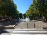 Place de Gaulle. It's like a spray park - the water jets change in height!